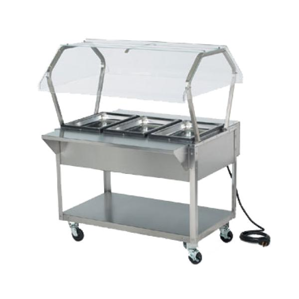 buffet with sneeze guard for hospital food