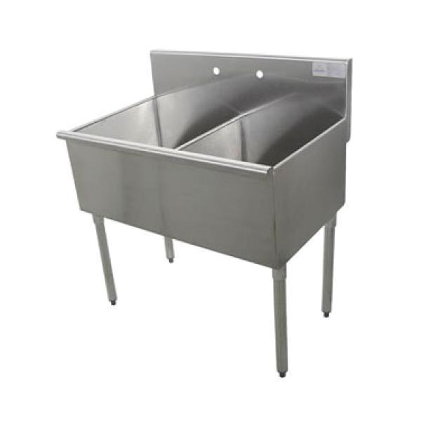 Advance Tabco 4-42-60 2-Compartment Square Corner Kitchen Sink- 24\