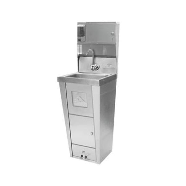 Pedestal Hand Sink W Soap Dispenser Cabinet Storage