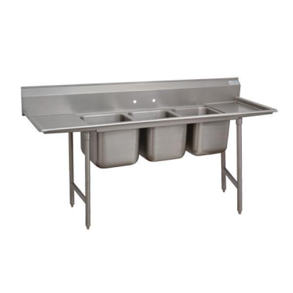 "3-Compartment Sink w/ 18"" Right-Hand Drainboard - 20"" x 16"" x 12""D"