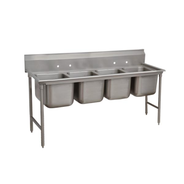 "Advance Tabco 932480 4-Compartment Sink w/ No Drainboard - 20""x 20""x 12"" Bowls"