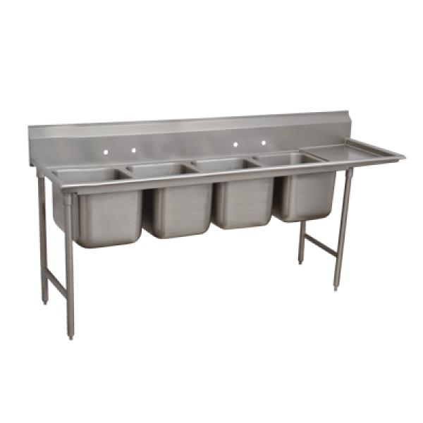 "Advance Tabco 9248024R 4-Compartment Sink w/ 24"" Right Drainboard - 20""x 20""x 12"" Bowls"