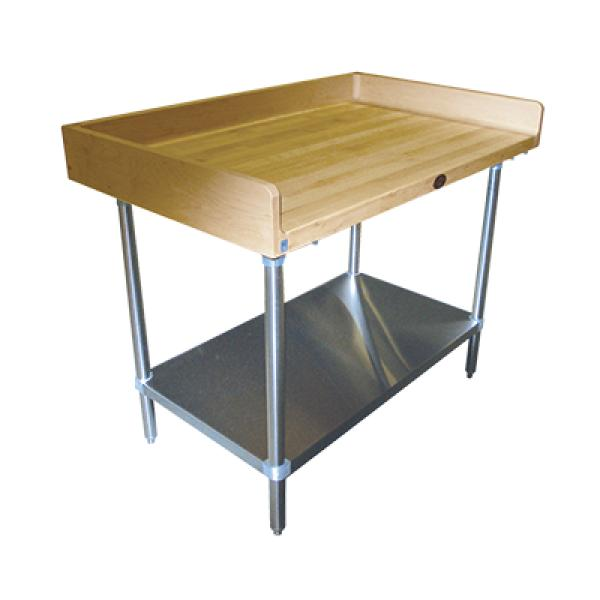 "Advance Tabco BG306 72""L x 30""W Work Table - Wood Top w/ Rear & Sides Splash - Galvanized Undershelf"
