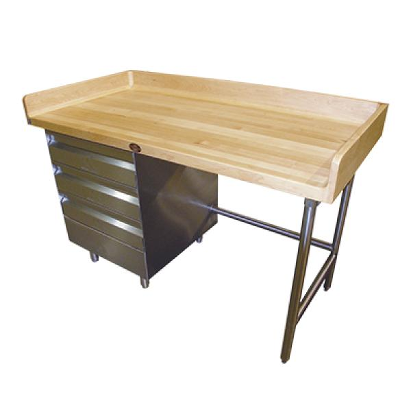 "Advance Tabco BGT364L 48""L x 36""W Work Table - Wood Top w/ Rear & Sides Splash - (3) Drawers on Left"