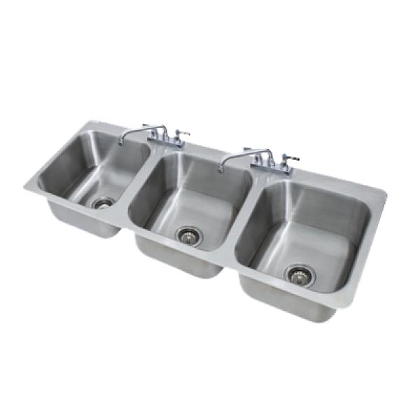 3 Compartment Drop In Sink 14 X 16 X 10 Bowls Deck Mounted Faucet Restaurant Equipment Solutions