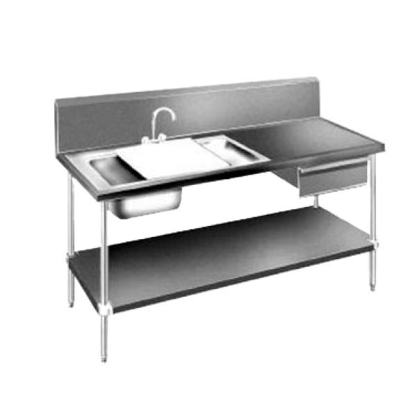 72 prep table sink unit w 2 sinks stainless steel drawer undershelf restaurant equipment - Stainless steel table with sink and faucet ...