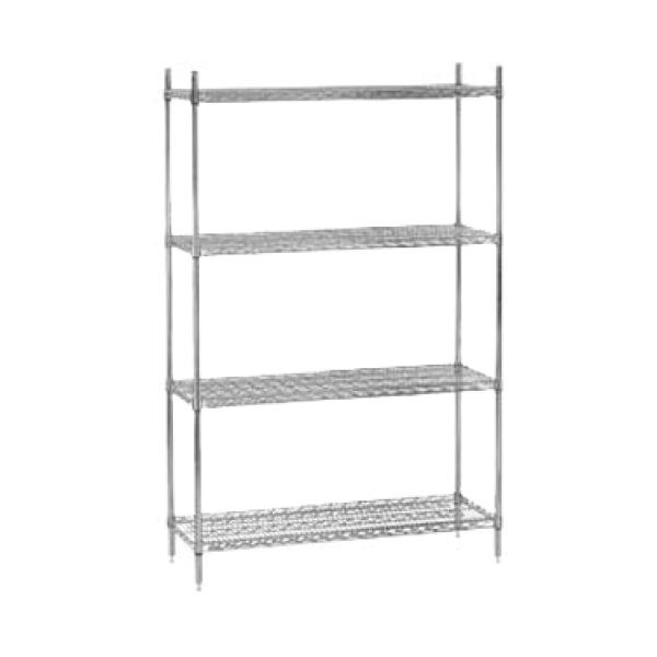 72l x 14w chrome wire shelving unit w four shelves - Chrome Wire Shelving