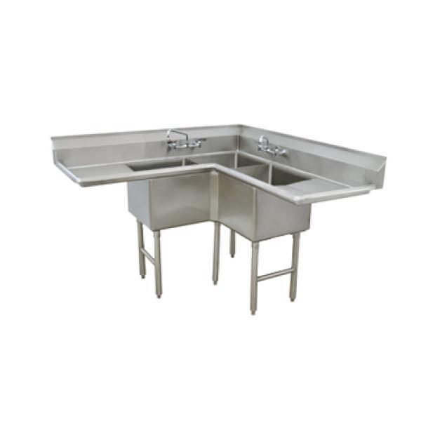 3-Compartment Corner Sink - L-shaped w/ 18