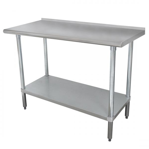 "36""L x 24""W Work Table w/ 1-1/2"" Backsplash and Galvanized Undershelf"