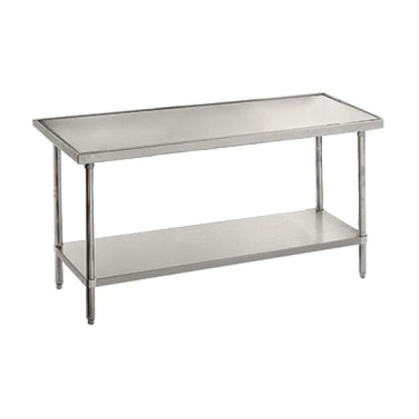 "Advance Tabco VLG485 60""L x 48""W Work Table - No Backsplash - Galvanized Undershelf"