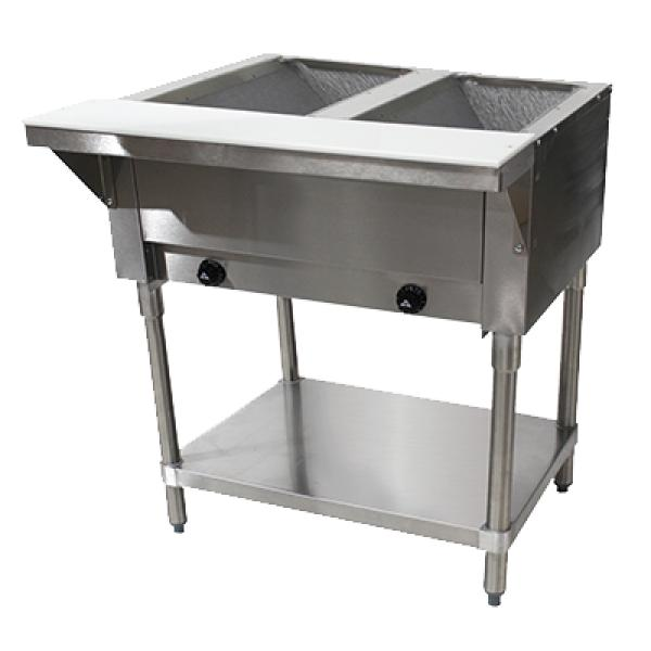 Well Hot Food Table LP Gas Open Base W Undershelf Restaurant - 2 well steam table