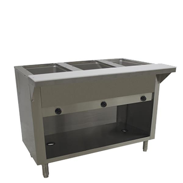 Advance Tabco HF3GLPBS 3 Well Hot Food Table - LP Gas - Enclosed Base w/ Undershelf