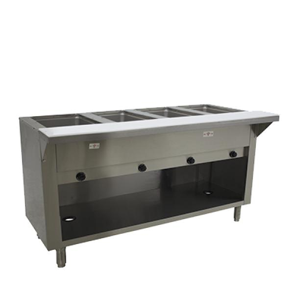 Advance Tabco HF4GNATBS 4 Well Hot Food Table - Natural Gas - Enclosed Base w/ Undershelf