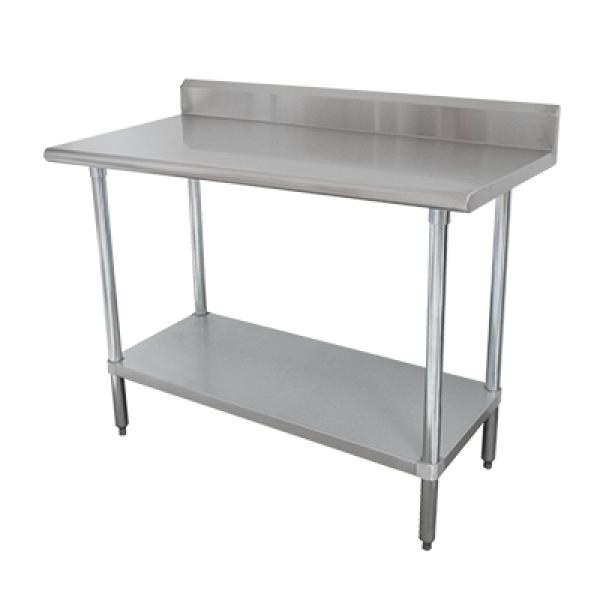"Advance Tabco KLAG243X 36""L x 24""W Work Table w/ 5"" Backsplash - Adjustable Galvanized Undershelf"