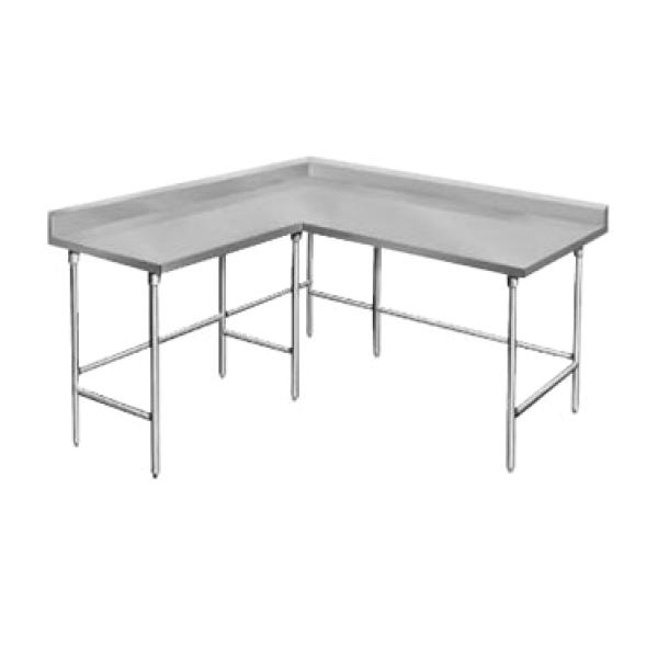 "Advance Tabco KTMS248 96""L x 24""W Work Table w/ 60"" L-shaped - 5"" Backsplash"