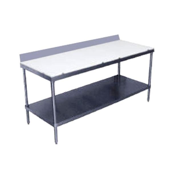 "Advance Tabco SPS245 60""L x 24""W Work Table w/ Cutting Surface Top - 6"" Backsplash - Stainless Undershelf"