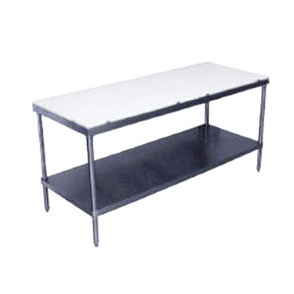 "Advance Tabco SPT246 72""L x 24""W Work Table w/ Poly Cutting Surface Top - Stainless Steel Undershelf"