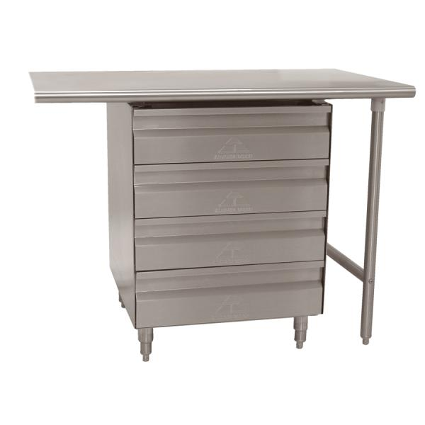 Drawers Tier Stainless Steel Installed Under Worktable - Stainless steel work table with drawers