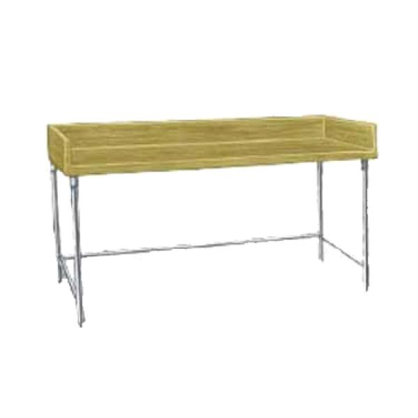 "Advance Tabco TBG365 60""L x 36""W Wood Bakers Top Work Table w/ 4"" Backsplash - Galvanized Frame"