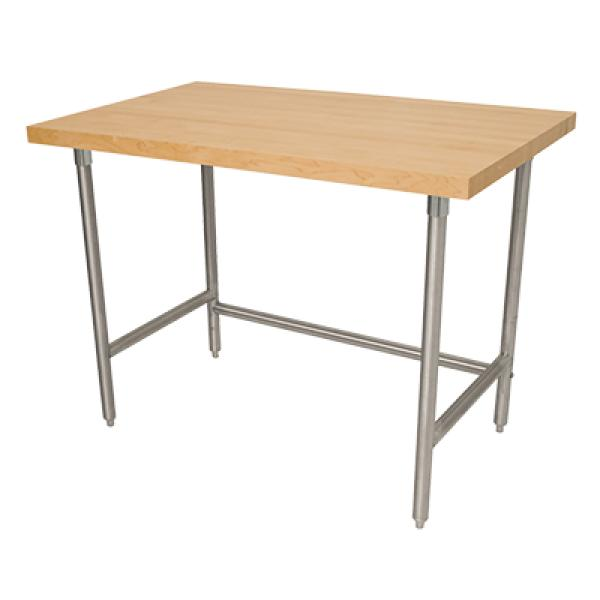 "Advance Tabco TH2S368 96""L x 36""W Wood Top Work Table - No Backsplash - Stainless Steel Frame"