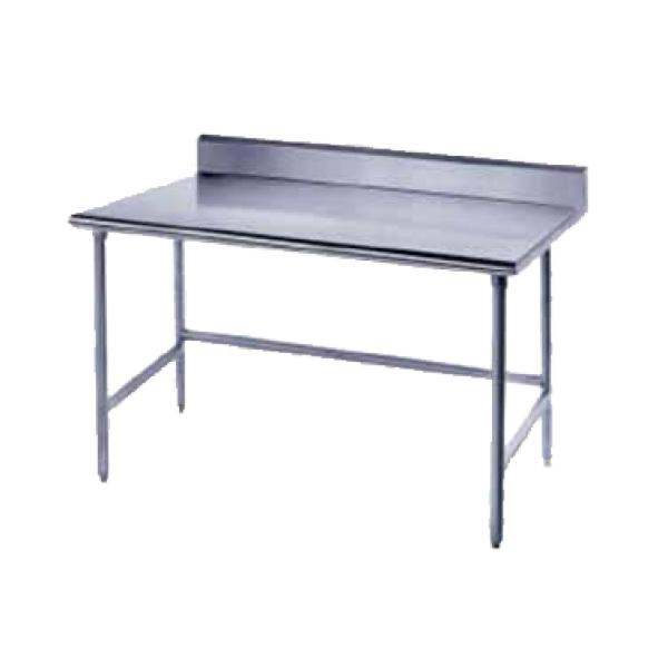 "Advance Tabco TKLG3010 120"" x 30""L Work Table w/ 5"" Backsplash - Galvanized Frame"