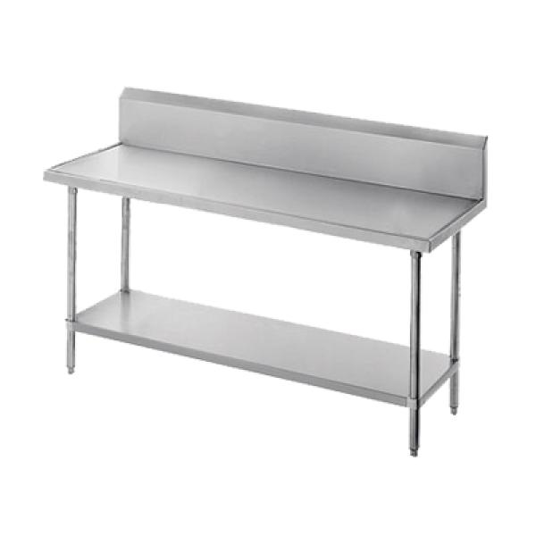"Advance Tabco VKS366 72""L x 36""W Work Table w/ 10"" Backsplash - Stainless Steel Undershelf"