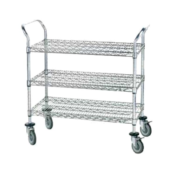 "Advance Tabco WUC1842R 36"" x 24"" Wire Utility Cart - Open Design - Three Shelves - Rubber Casters"