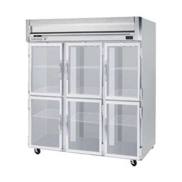 "Beverage Air HF35HG 72"" Reach-in Freezer - 74 Cu. Ft. - Six Glass Half Doors"