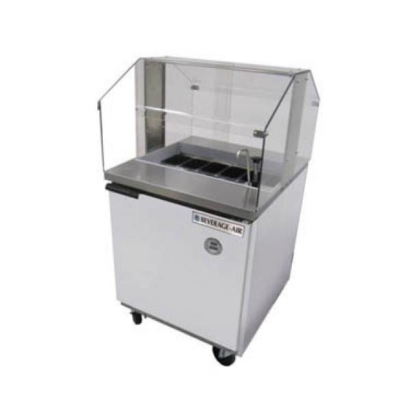 Beverage Air SPE27HCSNZ Elite Series Sandwich Top Refrigerated Counter with Sneezeguard