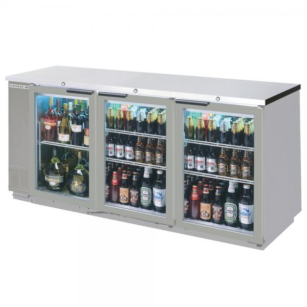 78 Stainless Steel Glass Door Pass Thru Back Bar Refrigerator