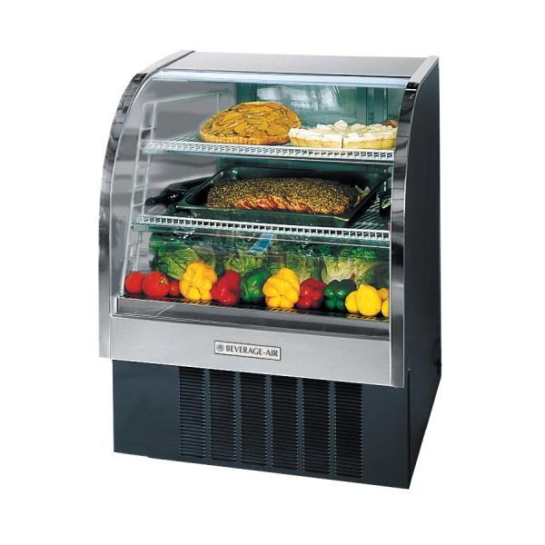 "Beverage Air  37"" Black Curved Glass Refrigerated Deli Case - 13.4 Cu. Ft."