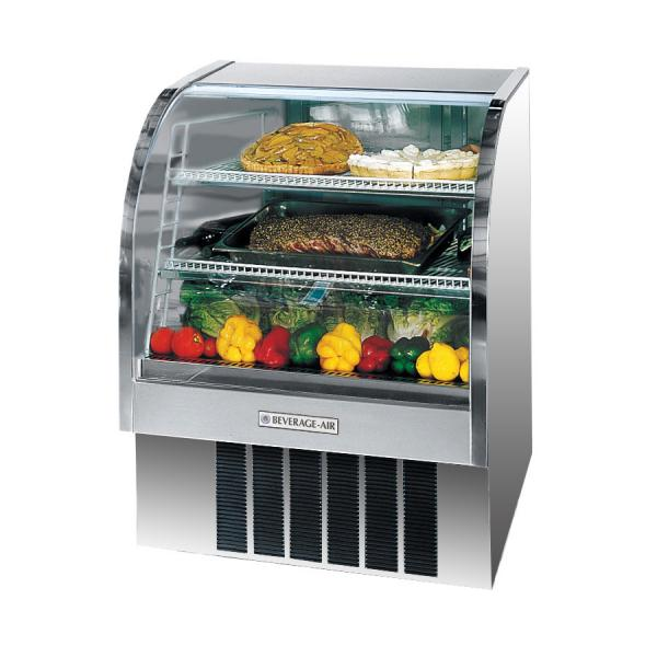 "Beverage Air  37"" Stainless Steel Curved Glass Refrigerated Deli Case - 13.4 Cu. Ft."