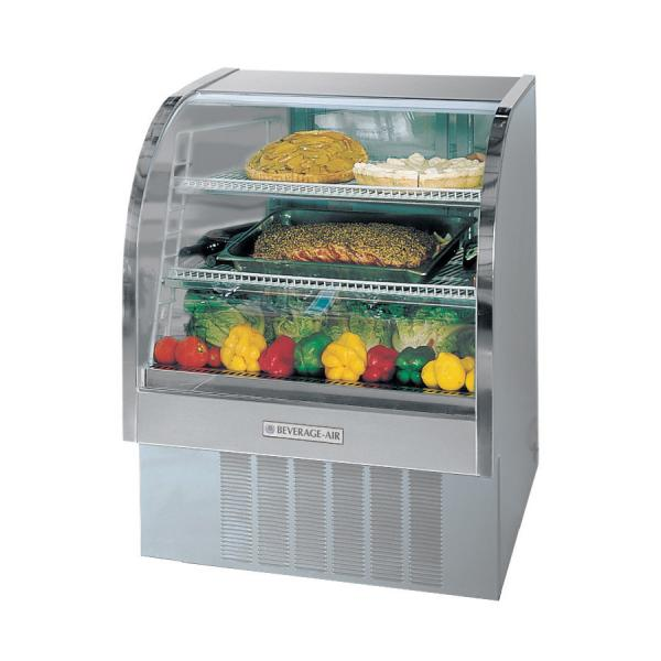"Beverage Air  49"" Stainless Steel Curved Glass Refrigerated Deli Case - 13.4 Cu. Ft."