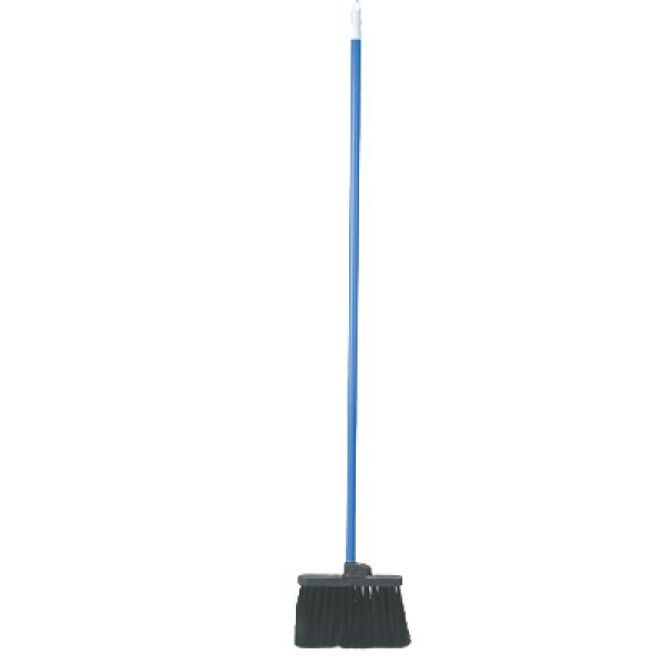 "Duo-Sweep® Light Industrial Broom, 48""L blue metal threaded handle, 11"" wide head"