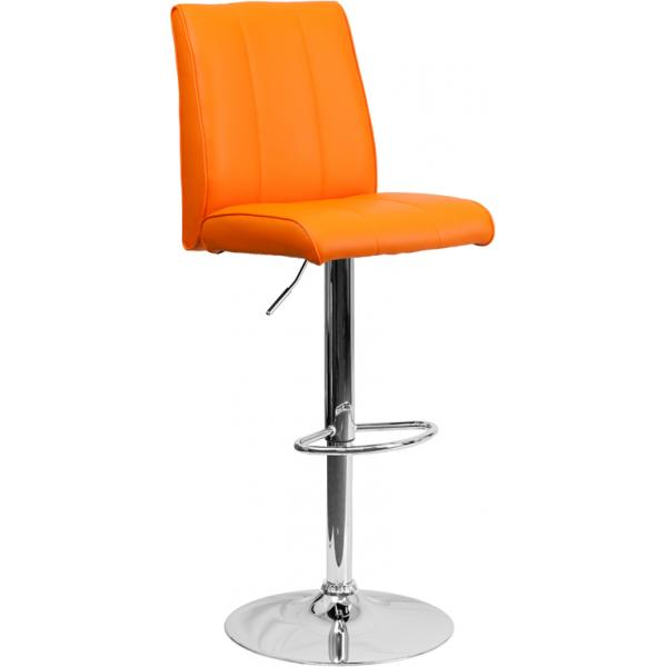 Phenomenal Flash Ch 122090 Org Gg Contemporary Orange Vinyl Adjustable Height Barstool W Vertical Stitch Panel Back And Chrome Base Caraccident5 Cool Chair Designs And Ideas Caraccident5Info