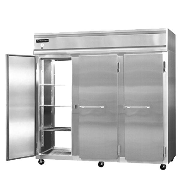 "Wide Refrigerator, pass-thru, 85-1/2"" wide three-section, self-contained refrigeration"