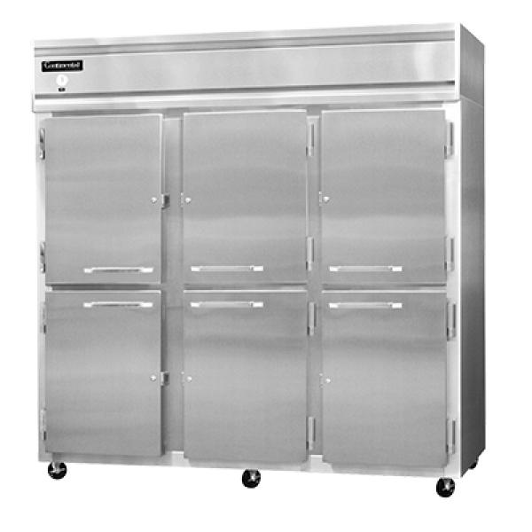 Refrigerator, reach-in, three-section, self-contained refrigeration, aluminum exterior &