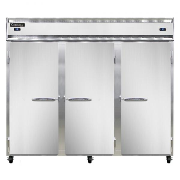 "Wide Refrigerator/Freezer, reach-in, 85-1/2"" wide three-section"