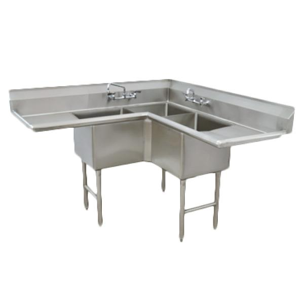 L-shaped Commercial Corner Sink - 3-Compartment | RES