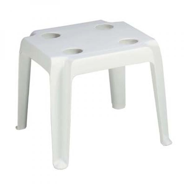 Oasis Outdoor Table, 18 x 18, square, UV resistant resin, white  -> White Sand Outdoor Resin Table