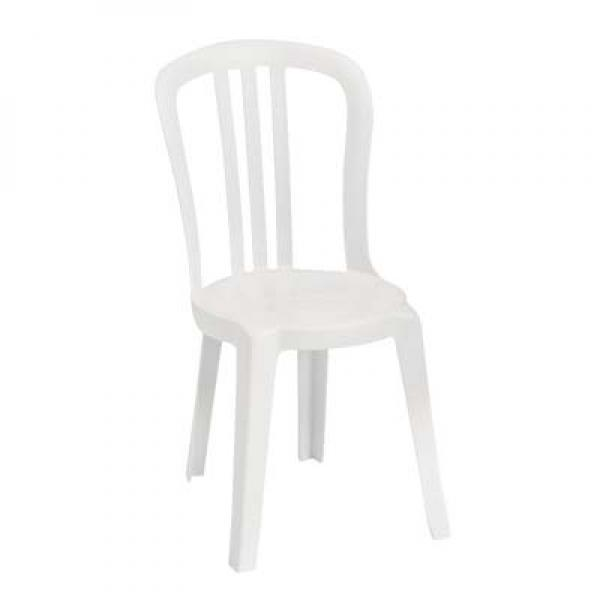 Miami Bistro Stacking Side Chair, Designed For Outdoor Use, UV Resistant  Resin, White