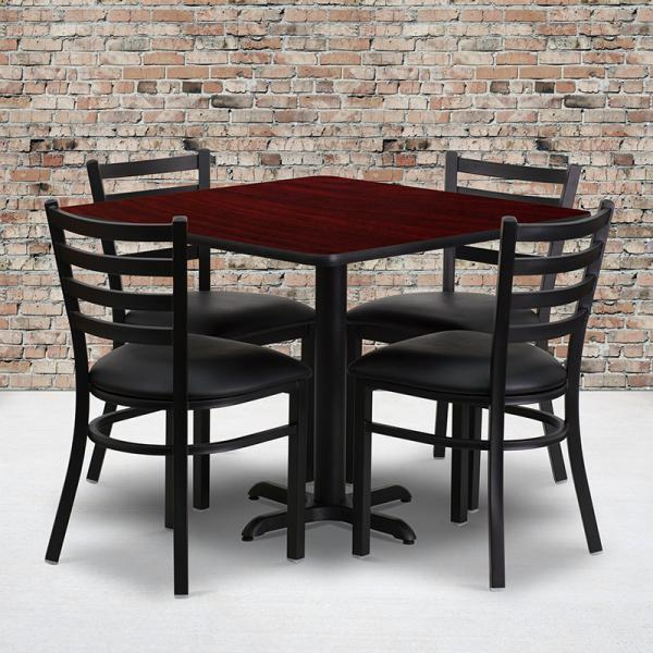 "36"" square mahogany laminate table set w xbase and 4"