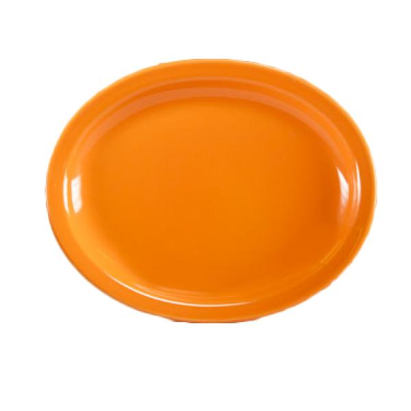 "Homer Laughlin 261325 Colorations 13-3/4"" Narrow Rim China Platter - Tangerine - 12/Case"