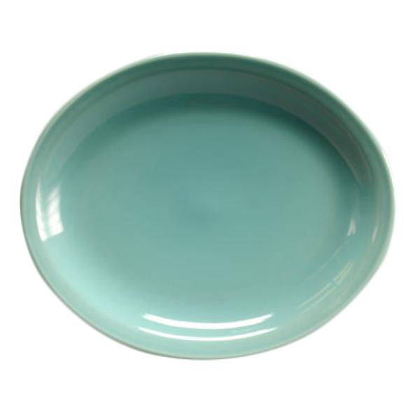 "Homer Laughlin 260107 Colorations 11-3/8"" Narrow Rim China Platter - Turquoise - 12/Case"