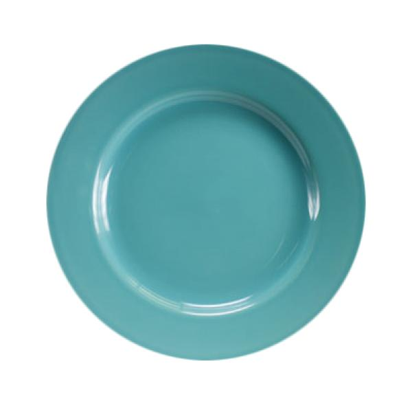 "Homer Laughlin  Colorations 10-5/8"" Rolled Edge China Plate - Turquoise - 12/Case"