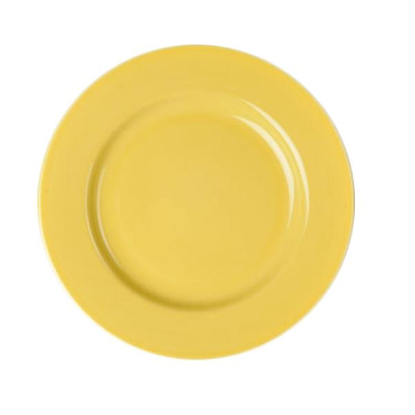 "Homer Laughlin  Colorations 10-5/8"" Rolled Edge China Plate - Sunflower - 12/Case"