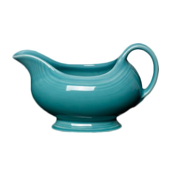 Homer Laughlin 486107 Fiesta 18-1/2 oz. Gravy Sauce Boat - Turquoise - 4/Case