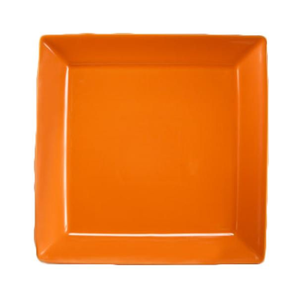 "Homer Laughlin  Colorations 12"" Rolled Edge Squre Plate - Tangerine - 12/Case"