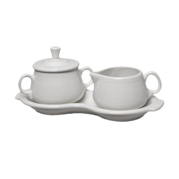 Homer Laughlin 821100 Fiesta Sugar & Cream Tray Set - White - 4/Case