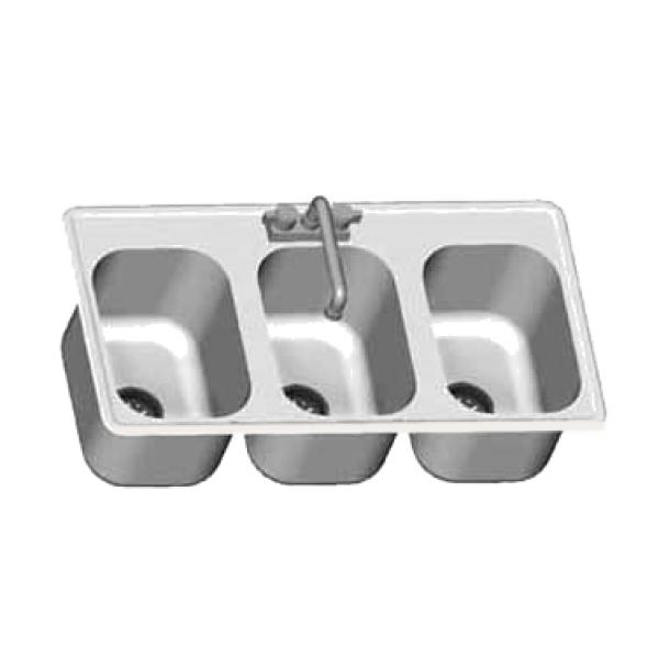 Drop In Countertop Sink 3 Compartment Self Rimming